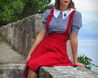 1940s Swing Pinafore Red Skirt Pin Up Skirt by BlancheOfArts