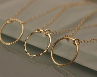 14k Gold Circle Necklace, 14K Circle Necklace, 14k Eternity Necklace, 14k Geometric Necklace, 14k Layering Necklace, 14k Gold Necklace