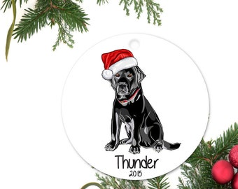 Black Lab Ornament, Personalized Christmas Ornament, Labrador Retriever Gift, Custom Dog Ornament, Ceramic Ornament, Pet Ornament
