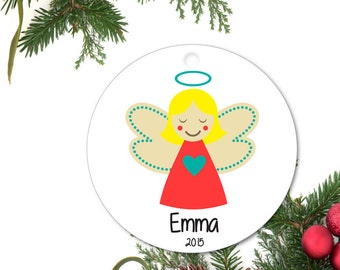 Angel Ornament, Baby's first Ornament, Personalized Christmas Ornament, Custom Baby Ornament, Ceramic baby Ornament, Holiday Gift