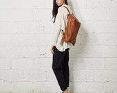 Sale 15% Off Brown Leather Backpack,  Women Travel Bag, School Bag, Honey Brown Leather Bag, Handmade