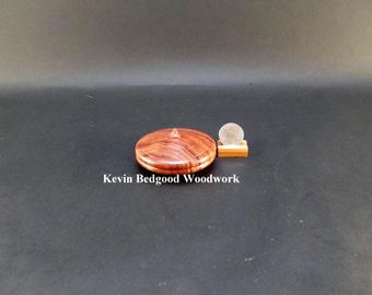Box Lidded Container Cebil wood clamshell low profile hand turned jewelry