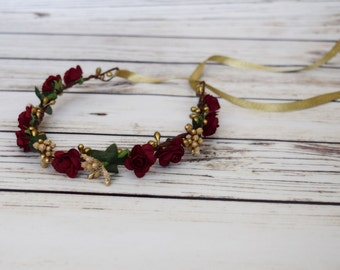 ON SALE Hand Crafted Burgundy and Gold Flower Crown - Flower Halo - Bridesmaid Flower Crown - Autumn Flower Crown - Winter Rose - Ribbon Tie