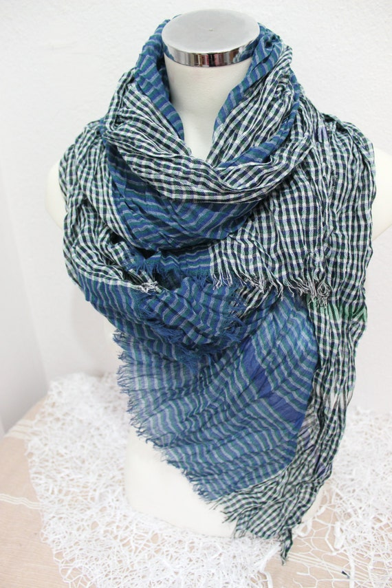 blue scarf blue scarf linen scarf by