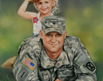 """Custom portrait painting from your photo soft pastel 12"""" x 16""""(30 x 40 cm)"""