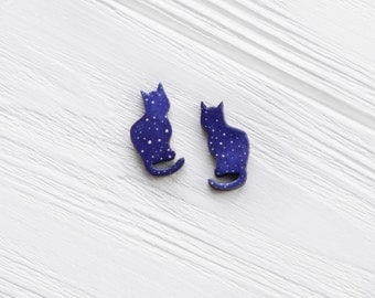Cat earrings Cosmic earrings Small studs cats Animal jewelry Kitten studs Cute gift for her Cat lover gift Gift for sister Simple cat stud