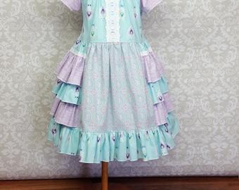 Size 3t Ready to Ship!!! Easter Dress, Raina Spring Summer side ruffle dress, Girls Boutique dress