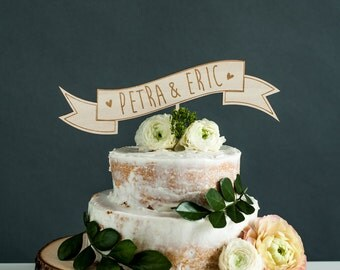 CUSTOM Wedding Cake Topper with Names - Wooden Banner