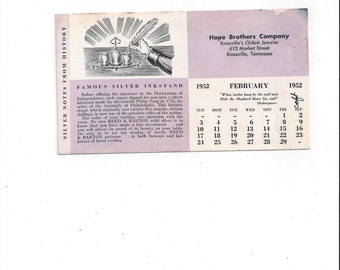 1952 Vintage Ink Blotter, Hope Brothers Jewelers, Knoxville, Tennessee, Advertising Store Blotter, Pink Back, 6.25 x 3.5, Silver History