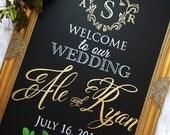 Wedding Chalkboard Sign DIGITAL PRINT - Monogram Wedding Sign - Wedding Welcome Sign • Wedding Monogram  •Wedding Crest Winter Wedding Sign