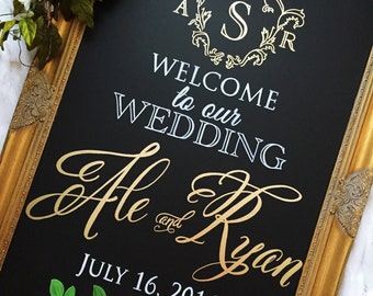 Wedding Chalkboard Sign - Monogram Wedding Sign - Wedding Welcome Sign • Wedding Monogram  •Wedding Crest Winter Wedding Sign