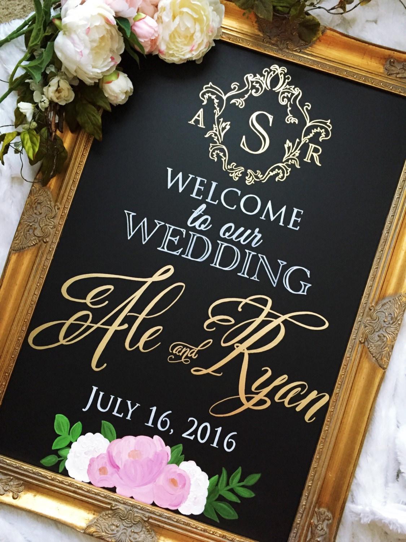 bd-yarina-014.jpg Monogram Wedding Sign - Welcome to our Wedding • Wedding Monogram • Couple's Names and Wedding Date Custom Wedding Chalkboard Sign, Wedding