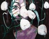 Floral Portrait Painting Art Print, Shadow Portrait, Violet Lighting, White Flowers, Floral Art, Wall Art