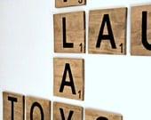 Large Scrabble Tiles - 6 inch, Wood Scrabble Tile Decor, Wall letter decor