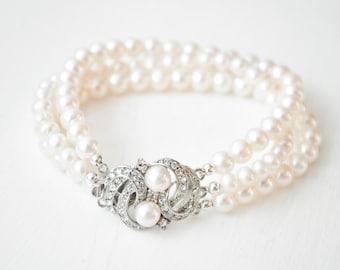 Bridal Bracelet Pearl, Bridal Cuff Bracelet, Wedding Bracelet, Freshwater Pearl Wedding Jewelry Vintage