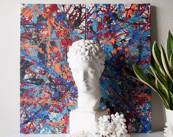 Vintage original abstract paintings set artwork on canvas modern splatter drip colorful painting set pair