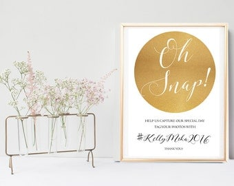 Social Media Wedding Sign Printable, Instagram Wedding Sign, Oh Snap, gold glitter sparkle, hashtag wedding sign, help us capture the love