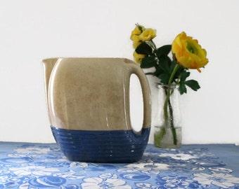 Vintage Universal Potteries Pitcher, Art Deco Ceramic Water Pitcher, Cream and Blue Ceramic Pitcher