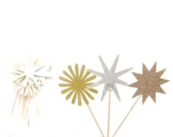12 Mixed Glitter Star Cupcake Toppers - Star cupcake toppers, firework cupcake toppers, new year cupcake toppers, twinkle party