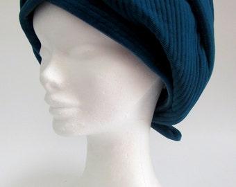 Vintage Teal Blue Needlecord Hat, dark blue beret type hat, vintage blue hat with bow, 1960's soft hat, dark blue vintage hat