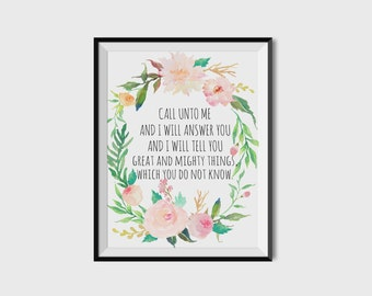 Printable verses, Wall art, Jeremiah 33:3, Call unto me and I will answer you, Bible verse, Floral wreath quote, Nursery wall art, Christian