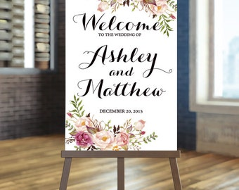 Printable Wedding Sign, Blush Welcome Wedding Sign, Floral Wedding Sign, Boho wedding Sign, Rose Wedding Sign, Rustic Wedding Sign, Ashley