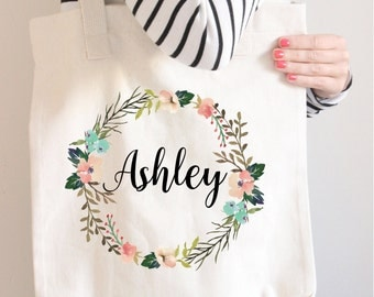 Bridesmaid Tote Bag, Floral wreath name tote, Bridesmaid Gift, Personalized tote, Floral name Tote Bag, Wedding bag, Сhristmas gift Tote bag