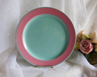 """Vintage 1970s, Colorways by Lindt-Stymeist, Turquoise and Pink, Dinner Plates, 11"""", Set of 4"""