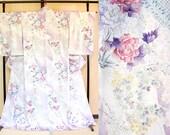 Pastel purple floral silk...