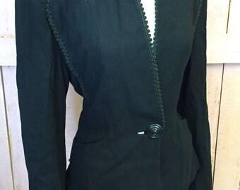"Vintage 30's 40's Dramatic High Style Hollywood Suit Jacket Blazer Sz 40"" B"