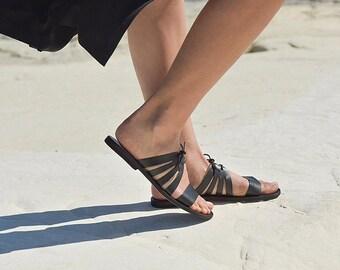 Leather Greek Sandals, Leather sandals, Women's Kamares leather slides