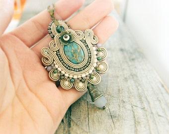 Beige soutache pendant, embroidered pendant, hand embroidered hazel pendant, beige necklace, soutache jewelry, beige beaded pendant