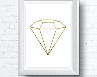 Diamond geometric gold leaf printable Wall Art Digital Download Print, contemporary modern  (various sizes) Gallery Wall Print