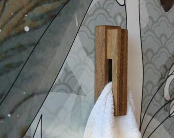 Wood towel rack, walnut towel holder, amish style towel rack, minimalist towel holder, modern