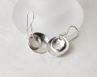 Hammered Sterling-Silver Dish and Hoop Dangle Earrings with Clear Swarovsk®i Crystals