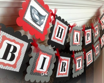 50 Shades of Grey Happy Birthday Banner - Gray Stripes & Red and Black Accents - Party Packs Available