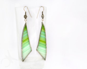 Green lime long earrings for summer in glass and sterling silver 925