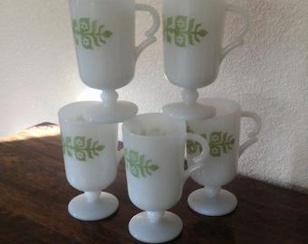 Glasbake Footed Mug, FIVE AVAILABLE, Green Floral Design, Vintage Retro