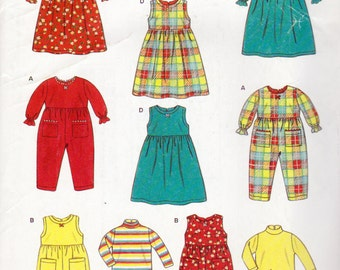 New Look 6664, Toddlers Rompers, Dresses and Topss to 4 Years, Empire Waist Dress, Turtleneck Tops, Jumpsuit