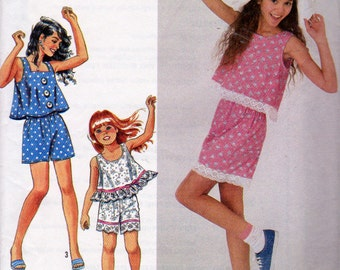 Simplicity 7300, Learn To sew Girls Size 7 to 14 Pull Over Tops, Pull On Shorts Pattern, Round and Square Neck Tops, A Line Sleeveless Tops