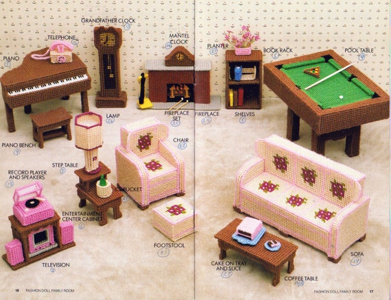 Plastic Canvas Fashion Doll Family Room Furniture Annie 39 S