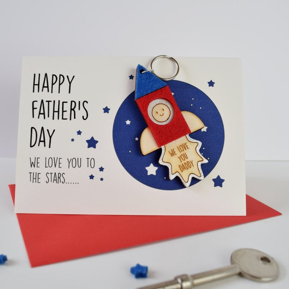 Father's Day Card -  Father's Day Keyring Card - Keyring - Space Card