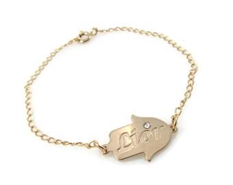 Hamsa initial bracelet. Hamsa birth stone initials bracelet. Birthstone bracelet. Gold initial bracelet. Gold bracelet. Evil eye bracelet.