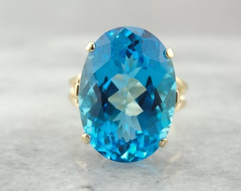 Bold and Bright Swiss Blue Topaz Cocktail Ring  5RALUW-N
