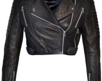 Crop Jacket Vicky for Women, Genuine Lamb Leather