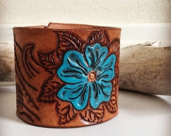 Tooled leather cuff bracelet with turquoise blue flower, western