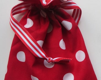 Red Polka Dot Lined Drawstring Gift Bag