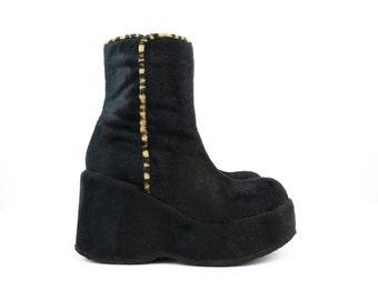 Vintage 90s Black Faux Fur Club Ankle Boots Platforms size 6