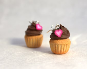 Cupcake earrings, miniature polymer clay cupcakes, dessert kawaii style jewelry