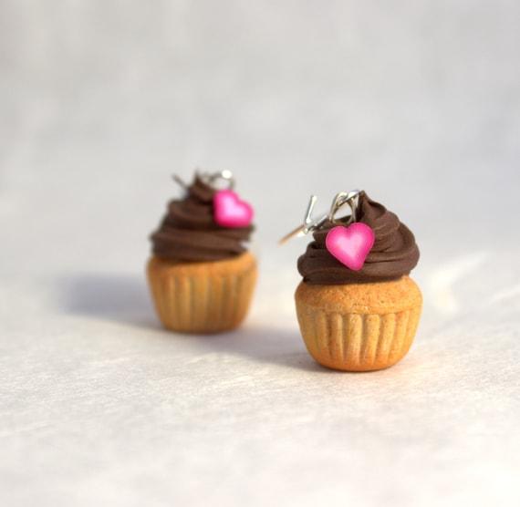 Cupcake Earrings Miniature Polymer Clay Cupcakes Dessert